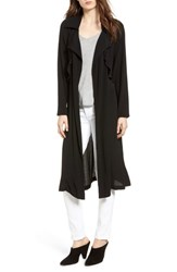 Trouve Ruffle Drape Front Belted Duster Jacket Black