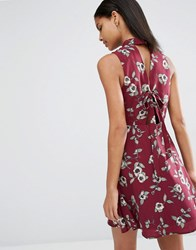 Moon River Prine Back Tie Dress Wine Red