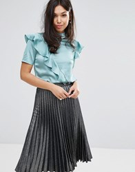 Fashion Union High Neck Top With Frill In Satin Green