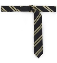 Dries Van Noten Striped Tie Belt Black