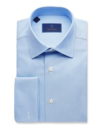 David Donahue Regular Fit Micro Birdseye Dress Shirt With French Cuffs Blue