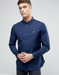 Lyle And Scott Stretch Slim Fit Shirt Buttondown Eagle Logo In Navy Navy