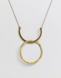 People Tree Fair Trade Silver Plated Brass Arc And Hoop Necklace Gold