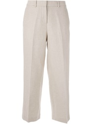 Theory Cropped Trousers Nude And Neutrals