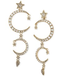 Rachel Roy Gold Tone Pave Moon And Star Linear Drop Earrings