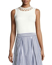 Milly Cutout Yoke Knit Shell White