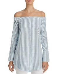 Dl1961 Adelphi And Willoughby Off The Shoulder Stripe Shirt Double Face Blue Stripe