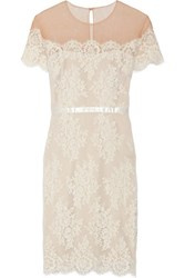 Marchesa Notte Tulle Paneled Lace Dress Ivory