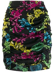 Versace Jeans Couture Floral Brocade Mini Skirt Black
