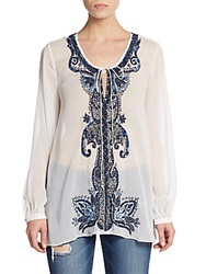 Alice Olivia Lugo Beaded Sheer Chiffon Tunic White Blue