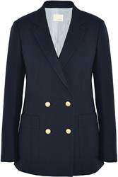Band Of Outsiders Double Breasted Basketweave Cotton Blazer Blue