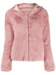 Save The Duck Faux Fur Hooded Jacket Pink
