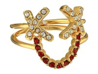 Rebecca Minkoff Smile Face Ring Set Gold Crystal Red Ring
