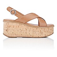 Prada Women's Platform Wedge Sandals Tan