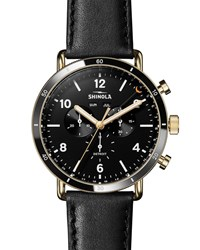 Shinola 45Mm Canfield Sport 3 Eye Chrono Watch W Leather Strap Black