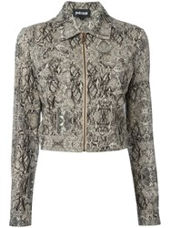 Just Cavalli Python Effect Cropped Jacket Nude Neutrals