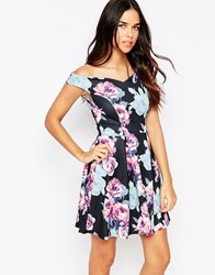 Jessica Wright Amelie Off Shoulder Skater Dress With Pleats Chalk Print Multi