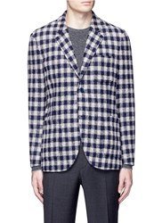 Altea Check Intarsia Wool Blend Knit Jacket Multi Colour