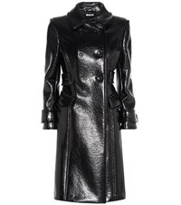 Miu Miu Faux Glossed Leather Coat Black