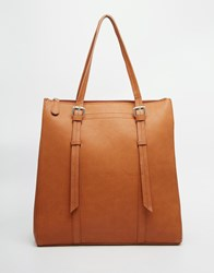 Pieces Structured Tote Bag Tan