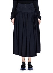 Ms Min Drape Flap Wool Cotton Skirt Blue
