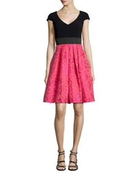 Theia Floral V Neck Fit And Flare Dress Cerise