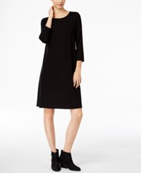 Eileen Fisher Boat Neck Shift Dress Black