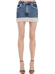 Diesel Cotton Denim Mini Skirt W Faux Shearling Light Blue