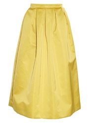 Rochas Duchess Satin Midi Skirt Gold