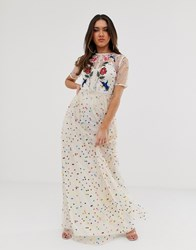 Frock And Frill Floral Bird Embroidered Maxi Dress In Allover Rainbow Polka Print Multi
