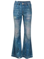 Nsf Washed Flared Jeans Blue