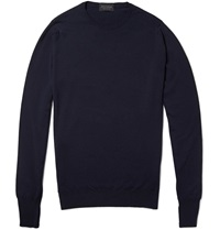John Smedley Marcus Crew Neck Merino Wool Sweater Blue