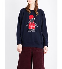 Chocoolate Penguin Print Knitted Jumper Navy