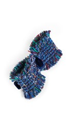 Alexandre De Paris Tweed Bow Barrette Blue Multi