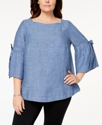 Charter Club Plus Size Linen Lantern Sleeve Top Created For Macy's Blue Ocean
