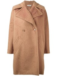 Nina Ricci Long Peaked Lapel Coat Nude Neutrals