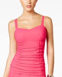 Gottex Profile By Origami Bra Sized Underwire Ruched Tankini Top Women's Swimsuit Rose