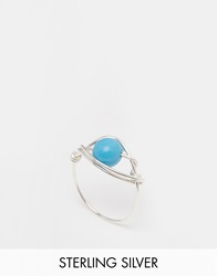 Katandbee Kat And Bee Simple 925 Sterling Silver Wire Ring With Turquoise Bead 925Sterlingsilver