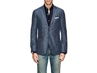 Barneys New York Herringbone Cotton Linen Two Button Sportcoat Blue