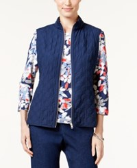 Alfred Dunner Petite Uptown Girl Quilted Vest Navy