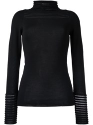 Wunderkind Sheer Stripe Knitted Top Black