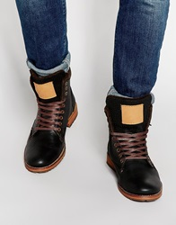 River Island Boots With Shearling Look Lining Black