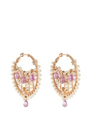 Maria Tash Diamond Sapphire Pearl And Rose Gold Earrings