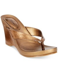 Styleandco. Style Co. Chicklet Wedge Thong Sandals Only At Macy's Women's Shoes Bronze