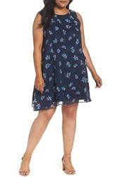 Taylor Dresses Plus Size Women's Tossed Floral Shift Dress Navy Teal Pink