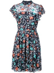 Zac Posen Floral Printed Flared Dress Blue