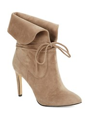 424 Fifth Tallis Suede Lace Up Booties Taupe