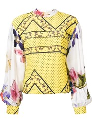 Ganni Floral Print Blouse Yellow