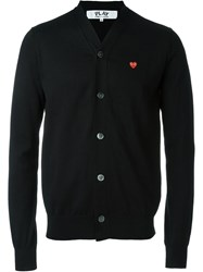 Comme Des Gara Ons Play Embroidered Red Heart Cardigan Black