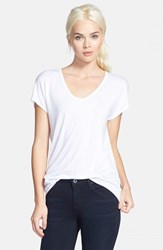Trouve Women's Trouve 'Easy' V Neck Tee White
